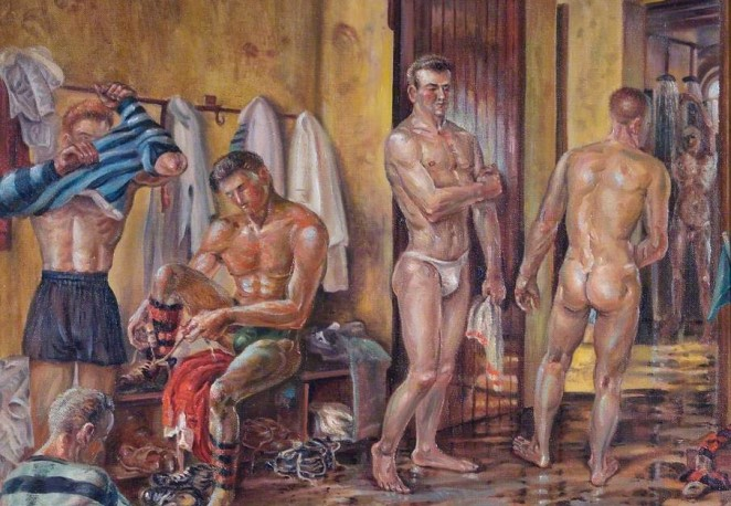 A painting of a rugby locker room after a match, by Ken Etheridge.